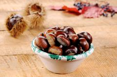 bowl of chestnuts - stock photo