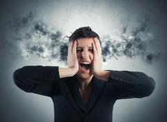 stressed buinesswoman - stock photo