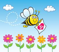 Be Mine Bee Carrying a Valentine Heart Stock Illustration
