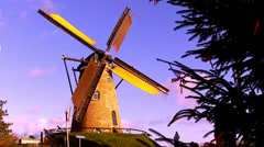 Wind mill in dutch town Cadzand. Time lapse Stock Footage
