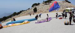 Paragliding at 0ludeniz, Turkey - stock photo