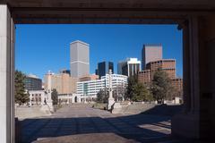 Denver Skyline from Civic Center Park - stock photo