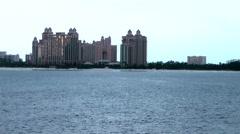 Nassau_059HD, Departure, last View of world famous Atlantis Hotel Stock Footage
