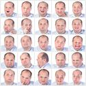 Stock Illustration of collage portrait fat man with difference emotions