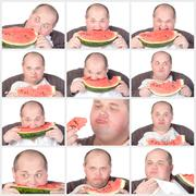 Collage portrait obese man eating a large slice of fresh juicy watermelon Stock Illustration