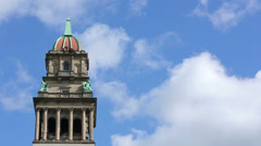 Historic Detroit Tower Wayne County Building Against Blue Sky Timelapse Stock Footage