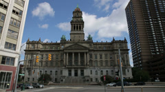 Wayne County Building Timelapse Detroit City Government Architecture Stock Footage