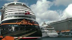 Nassau_001HD, Cruise Ships of Disney, AIDA and Royal Caribbean in the Harbor Stock Footage