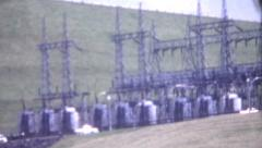 8mm Vintage Film Early 1970's Center Hill Hydro Electric Dam Power Transformers Stock Footage