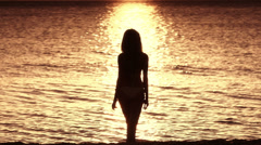 Woman In Ocean - stock footage