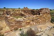 Stock Photo of ruins of houses of the  lomaki pueblo