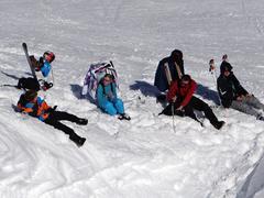 al fresco lunch on the ski slope - stock photo