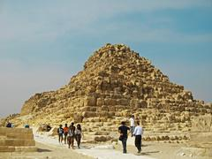 pyramids in the desert of egypt giza - stock photo
