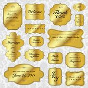 vector clipart gold wedding invitation set - stock illustration