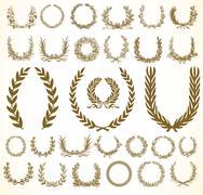 vector clipart wreath and laurels set - stock illustration