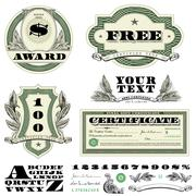 Vector clipart money and currency fonts Stock Illustration