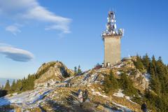 Postavaru peak with telecom antenna, romania Stock Photos