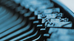 CU letters on old fashioned typewriter Stock Footage