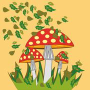 Fly agaric with autumn leaves Stock Illustration
