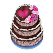 celebratory cake, decorated with roses and heart - stock illustration