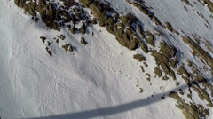 Mammoth, aerial of ski slope.  People skiing. Stock Footage