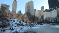 New York City Central Park in snow - stock footage