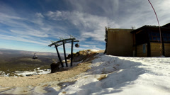 Mammoth, Gondola loading base at top of slope Stock Footage