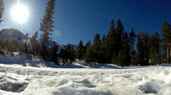 Mammoth, Skier and Snow boarder on slope Stock Footage