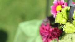Wedding flower birds eye rack focus Stock Footage