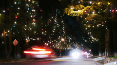 Christmas Illumination Time Lapse -Pan Left- Stock Footage