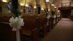 Church aisle wedding aisle flowers Stock Footage