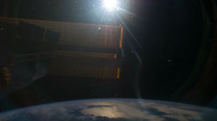 Space Station Earth Orbit View ISS International Space Station Stock Footage
