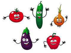 Cucumber, pepper, onion, eggplant and tomato Stock Illustration