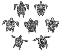 Tribal turtles tattoos Stock Illustration