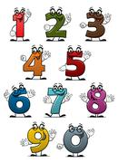 Cartoon funny numbers and digits Stock Illustration