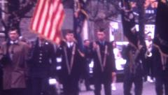 8mm Vintage Film 1969 Christmas Parade Military Soldiers Flags Honor Fire Engine - stock footage