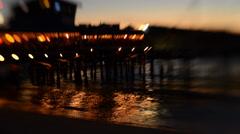 Tilt Shift Twilight Beach Pier Stock Footage