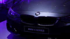 BMW 4 Series stand pan Stock Footage