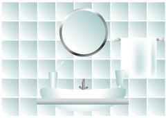 Bathroom in pale blue tones Stock Illustration