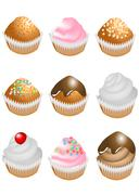 Stock Illustration of cupcake, icing, dessert, sweet, chocolate, candy, cherry, cream, cake, set, f