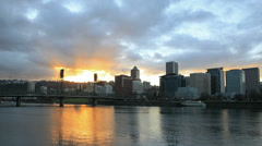 Portland Oregon City Skyline with Clouds and Sunrays Time Lapse 1920x1080 Stock Footage