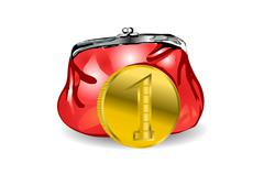 Purse and coin Stock Illustration
