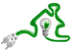 electric plug on the grass cord - stock illustration