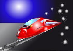Night quick train Stock Illustration