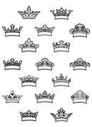 Ornated heraldic crowns set Stock Illustration