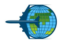 airplane flying around the earth - stock illustration