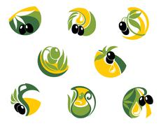 green and black olives elements - stock illustration