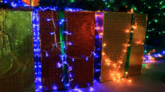 Christmas decorations with Gift box Stock Footage