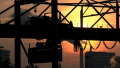 import export. container crane industrial industry. logistics. sunset dusk - stock footage