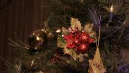 Stock Video Footage of Christmas Tree Close up slide